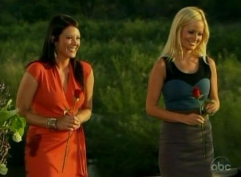 Chantal O'Brien and Emily Maynard during week nine's rose ceremony in South Africa.