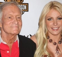 Hugh Hefner and Crystal Harris Get Close at Lingerie Party