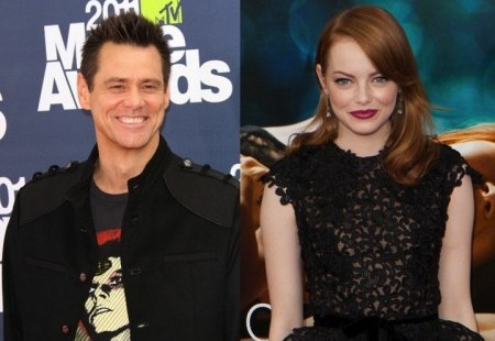 Jim Carrey and Emma Stone. Photo: Andrew Evans / PR Photos; Charles Norfleet / PR Photos