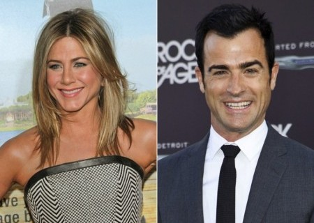Jennifer Aniston and Justin Theroux. Photo: Andrew Evans / PR Photos; Emiley Schweich / PR Photos