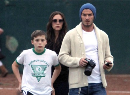 Victoria and David Beckham with son Brooklyn. Photo: Goodwin/Pablo/Flynetpictures.com