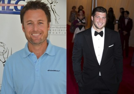 Chris Harrison and Tim Tebow. Photo: richard shotwell / PR Photos; Janet Mayer / PRPhotos.com
