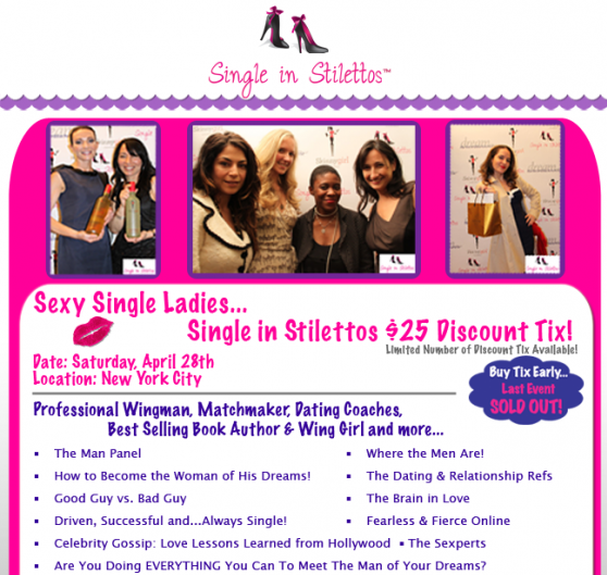 Cupid's Pulse Article: Exclusive Discount: Single in Stilettos Event in NYC
