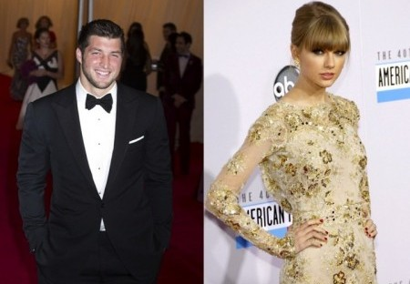 Tim Tebow and Taylor Swift. Photo: Janet Mayer / PRPhotos.com; David Gabber / PRPhotos.com