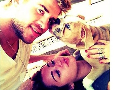 Cupid's Pulse Article: Miley Cyrus and Liam Hemsworth Get Cuddly With Dog Ziggy