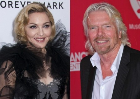 Madonna and Richard Branson. Photo: Janet Mayer / PR Photos; Andrew Evans / PR Photos