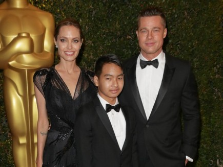 Angelina Jolie, Brad Pitt and son Maddox Jolie-Pitt. Photo:  Andrew Evans  / PR Photos