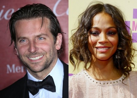 Bradley Cooper and Zoe Saldana. Photo: Andrew Evans / PR Photos; David Gabber / PR Photos