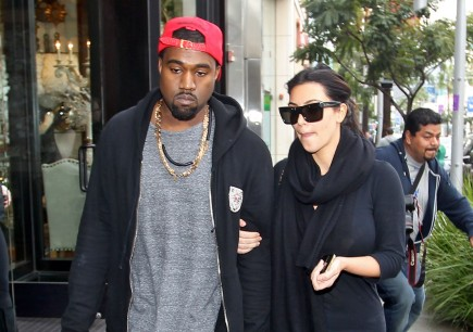 Kanye West and Kim Kardashian. Photo: FAMEFLYNET PICTURES
