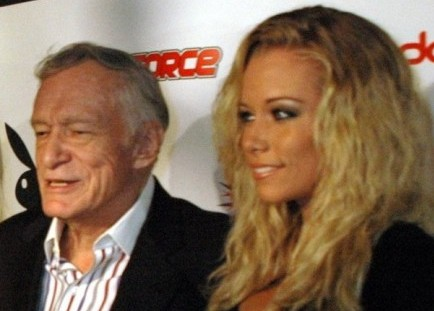 Hugh Hefner and Kendra Wilkinson. Photo: Deborah Bearor / PR Photos
