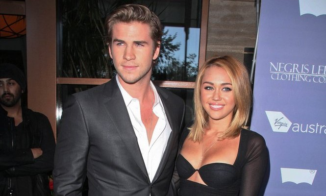 Liam Hemsworth and Miley Cyrus. Photo: Andrew Evans / PR Photos