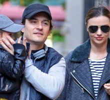 Miranda Kerr and Orlando Bloom Reunite in NYC with Son Flynn
