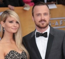 Newlyweds Aaron Paul and Lauren Parsekian Have Touchy Feely Date Night