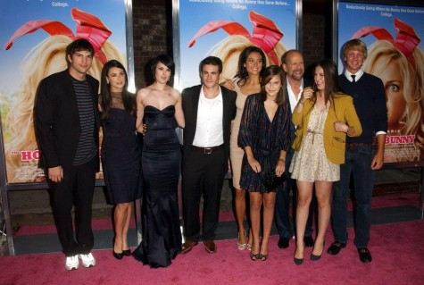 Ashton Kutcher, Demi Moore, Rumer Willis, Micah Alberti, Emma Heming, Scout Willis, Bruce Willis, and Tallulah Willis with guest. Photo: Albert L. Ortega / PR Photos