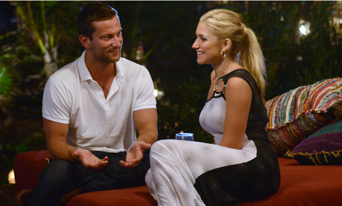 Chris Bukowski chats with Elise Mosca after the rose ceremony on 'Bachelor in Paradise.' Photo courtesy of ABC.
