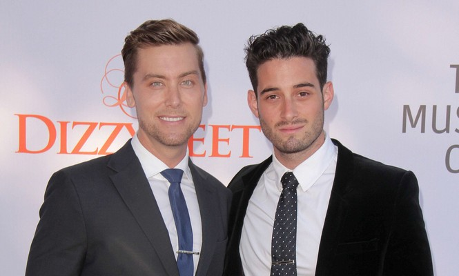 Lance Bass and Michael Turchin reaffirm their engagement. Photo: Andrew Evans  / PR Photos