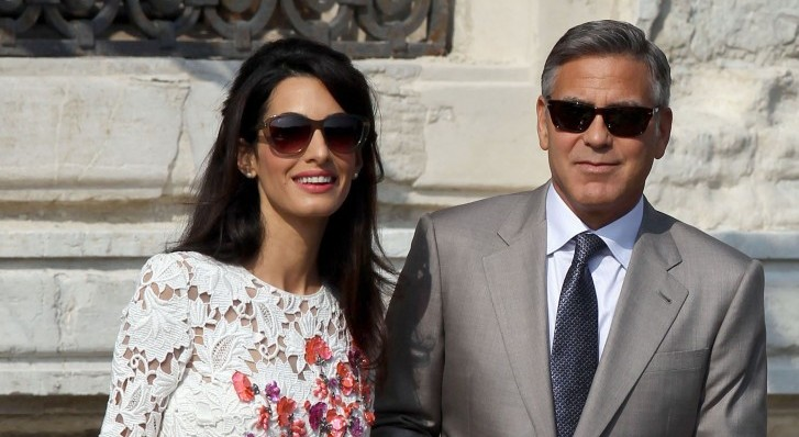 Newlyweds Amal Alamuddin and George Clooney emerge post-wedding. Photo: FameFlynetUK/FAMEFLYNET PICTURES
