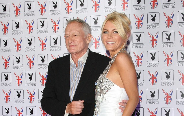 Hugh Hefner and Crystal Harris debut their 2014 Christmas card. Photo: Landmark / PR Photos