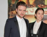 Celebrity Couple Justin Timberlake & Jessica Biel Goof Off with Hilary Clinton in Photo Booth