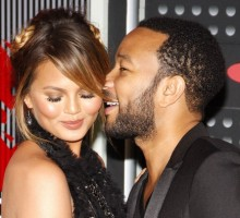 Celebrity Baby: John Legend Rubs Chrissy Teigen's Bump at Charity Event