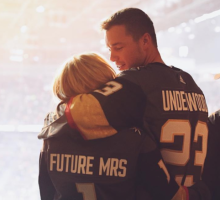 Celebrity Couple: Colton Underwood & Cassie Randolph Sport Romantic Jerseys at Hockey Game