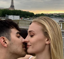 Celebrity Couple Joe Jonas & Sophie Turner Kiss in Paris Before Second Wedding Ceremony